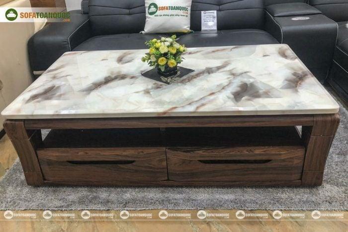 bàn trà sofa gỗ mặt đá tự nhiên marble