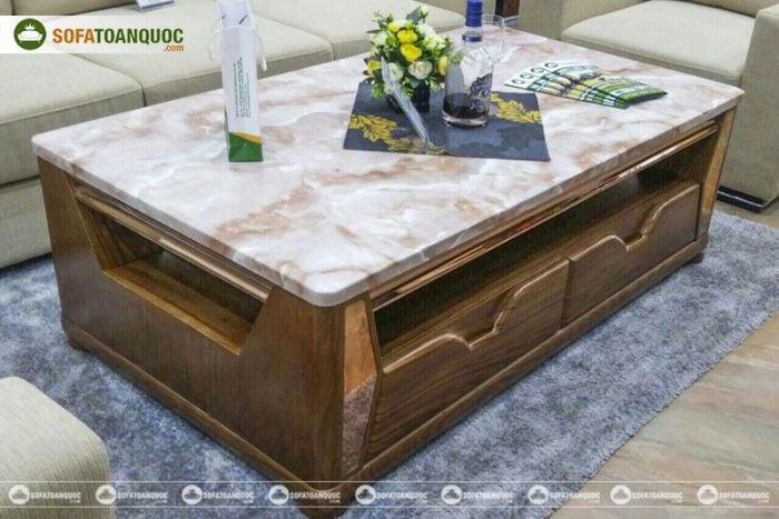 bàn trà sofa gỗ tự nhiên mặt đá