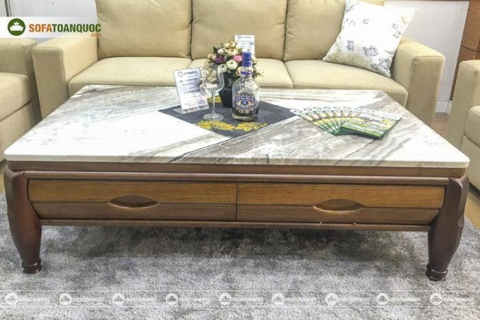 bàn trà sofa gỗ tự nhiên mặt đá đẹp