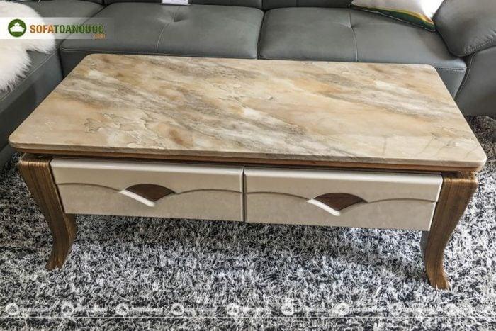 bộ bàn sofa gỗ công nghiệp mặt đá marble