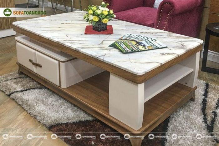 bàn trà mặt đá marble
