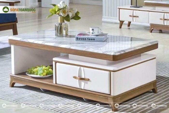 bàn trà gỗ công nghiệp mặt đá Marble