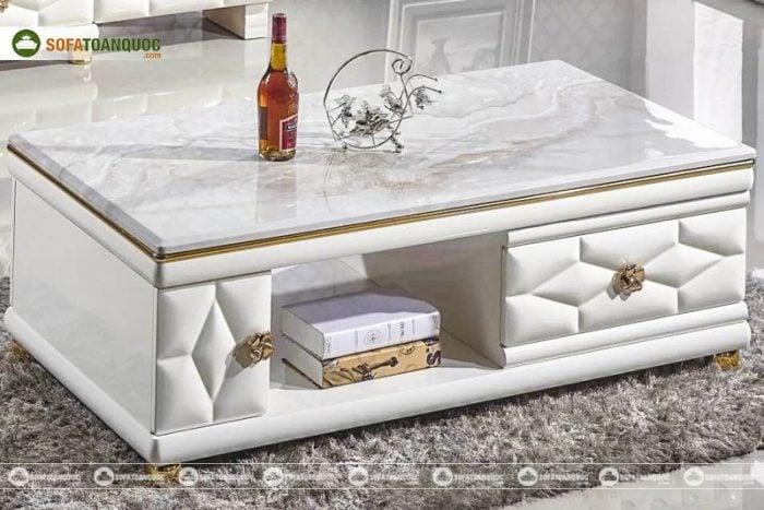 bàn trà sofa gỗ công nghiệp mặt đá marble