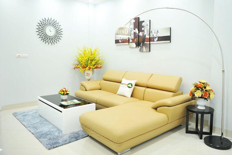 sofa da màu kem đẹp dạng góc
