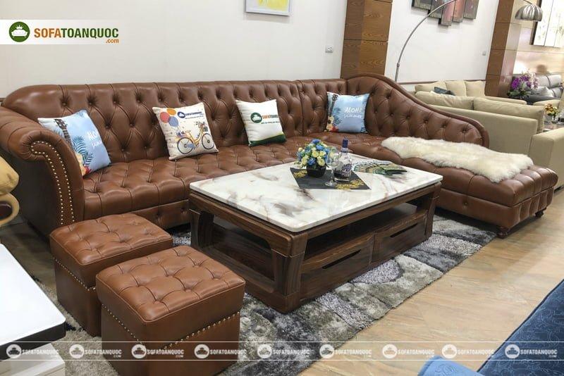 Bộ ghế sofa rời sử dụng da thật Anh đẳng cấp, có giá khoảng 90 triệu đồng trong thời điểm bài viết được xuất bản