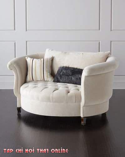 ghế sofa màu kem kiểu ghế tròn cổ điển