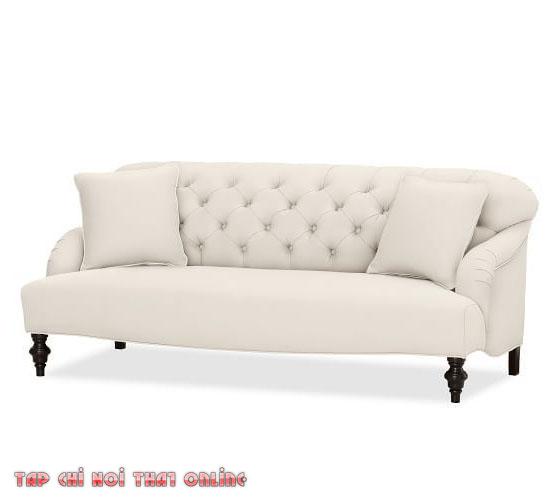 sofa tân cổ điển màu trắng kem