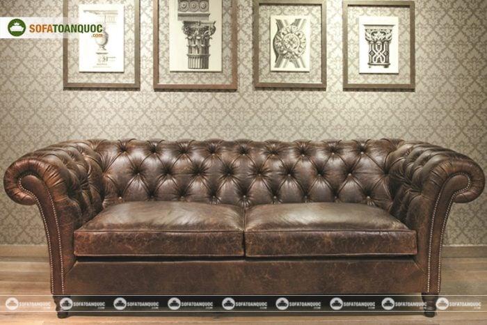 Sofa văng da thật phong cách tân cổ điển sang trọng