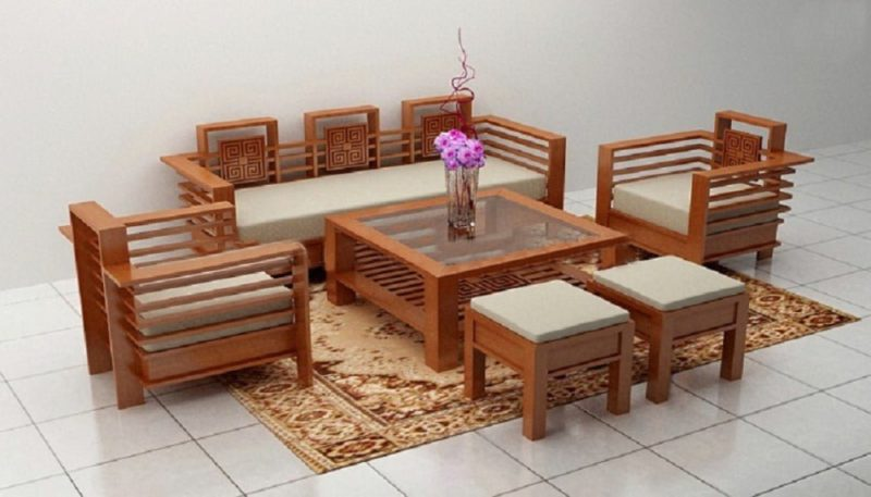 Bộ ghế sofa gỗ đệm chú ý nhất là gỗ và đệm xem chất lượng hay không?
