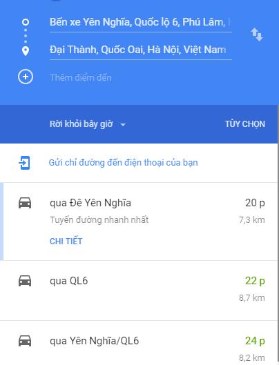 Từ Đại Thành ra khu vực Yên Nghĩa 7km mất 20 phút. Thực tế đi xe máy chỉ mất 15 phút