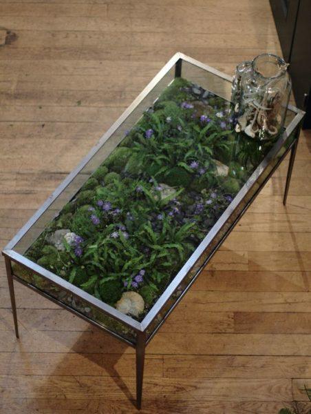 bàn trà mặt kính kiêm vườn mini