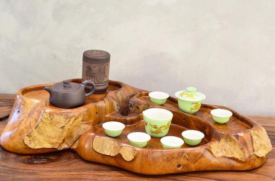 mẫu bàn trà gỗ nguyên khối độc đáo