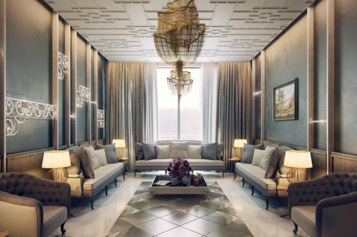 Mẫu sofa tân cổ điển được bài trí trong phòng khách tương ứng theo phong cách tân cổ điển