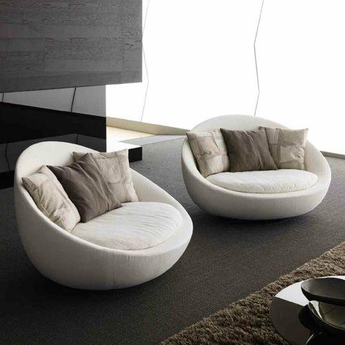 sofa tròn đơn màu xám êm ái