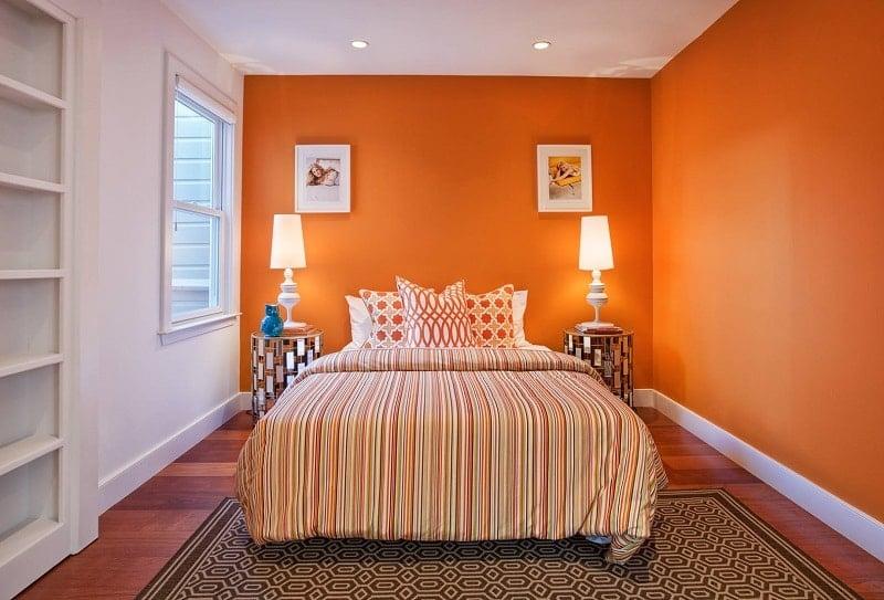 phòng ngủ gam màu cam