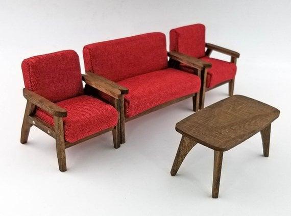 sofa văng gỗ mini và bàn trà