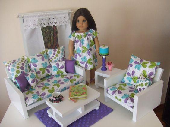 sofa vải hoa cho búp bê