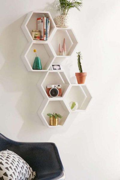 giá sách hình tổ ong treo tường dạng mini