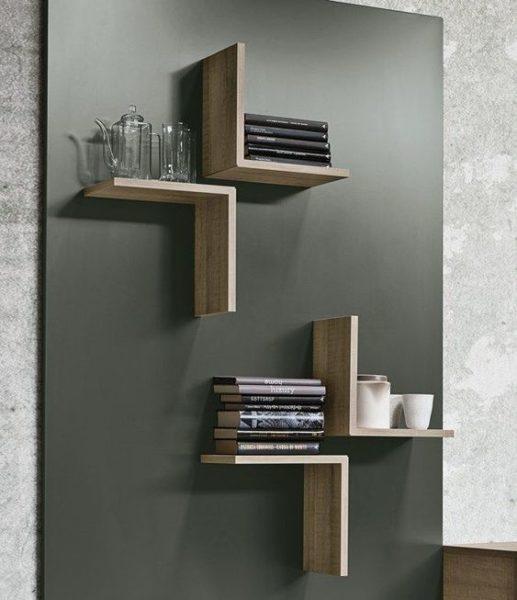 kệ sách nhỏ gọn dính tường hình mũi tên bằng gỗ