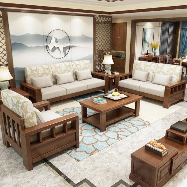 bộ ghế sofa gỗ sồi đẹp