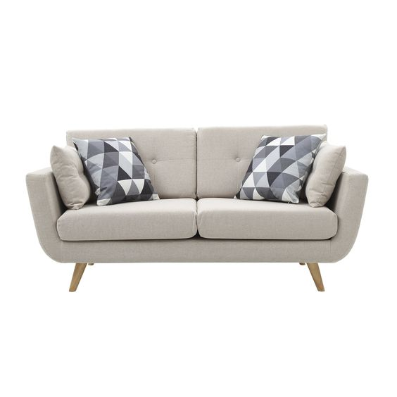 ghế sofa 2 chỗ chân gỗ bọc vải nỉ