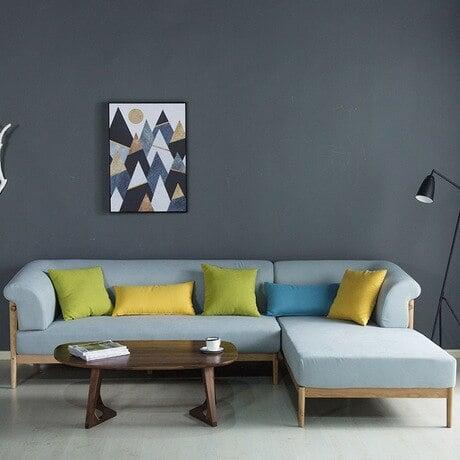 ghế sofa góc gỗ sồi đẹp màu xanh da trời