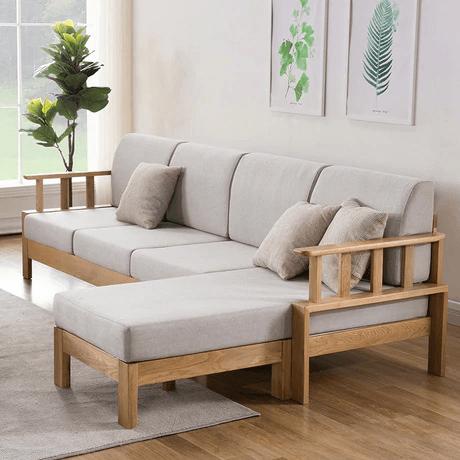 ghế sofa góc gỗ sồi hiện đại