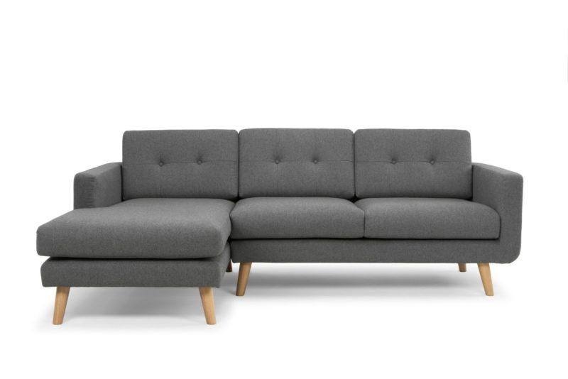 ghế sofa góc gỗ sồi màu xám đẹp