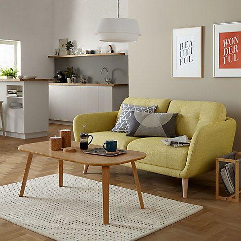 ghế sofa màu vàng sậm 2 chỗ chân gỗ