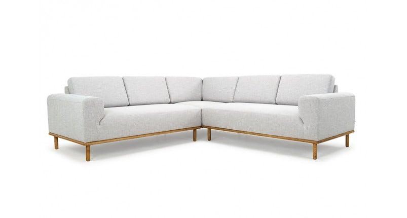 ghế sofa góc lớn bằng gỗ sồi màu xám