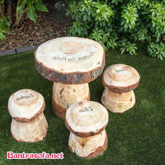 bộ bàn ghế uống trà làm từ gốc cây
