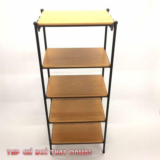 kệ sách 5 tầng bằng gỗ khung sắt
