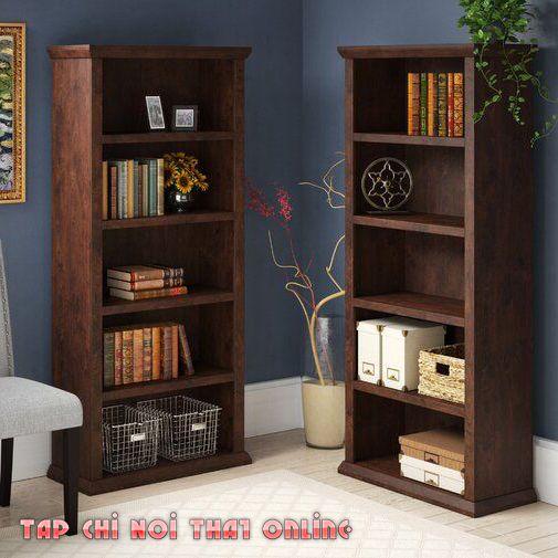 kệ sách gỗ 5 tầng cổ điển