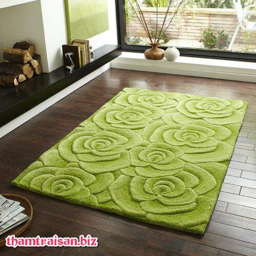thảm sofa 3D cho mùa hè màu xanh lá mạ