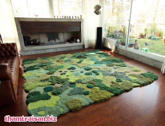 thảm 3D màu rêu thảm có