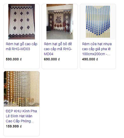 Giá rèm cửa hạt nhựa tham khảo trên Google Shopping.