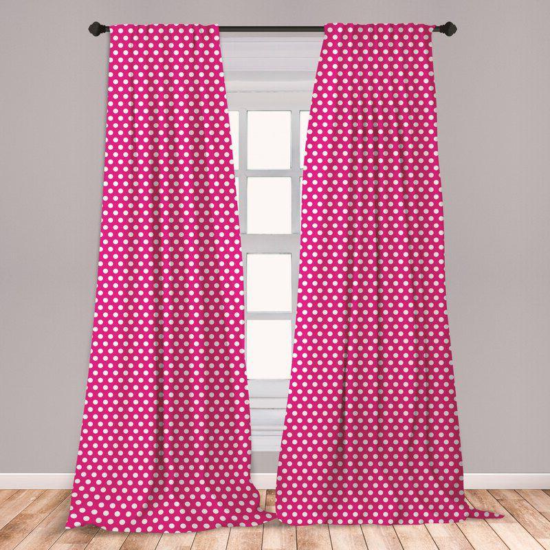 rèm cửa màu hồng cánh sen chấm bi