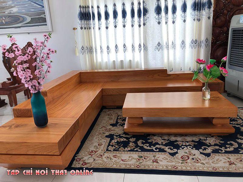 bộ ghế sofa góc bằng gỗ nguyên khối