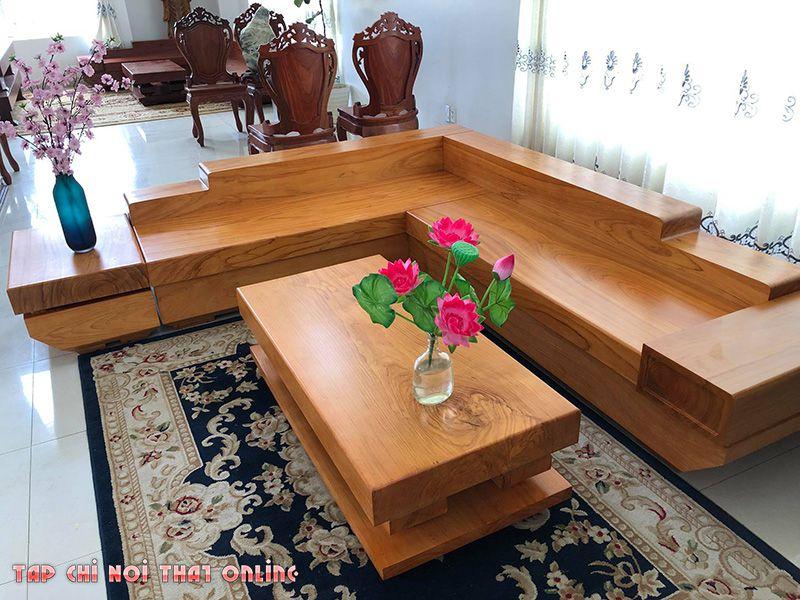 bộ bàn ghế sofa gỗ nguyên khối dạng góc