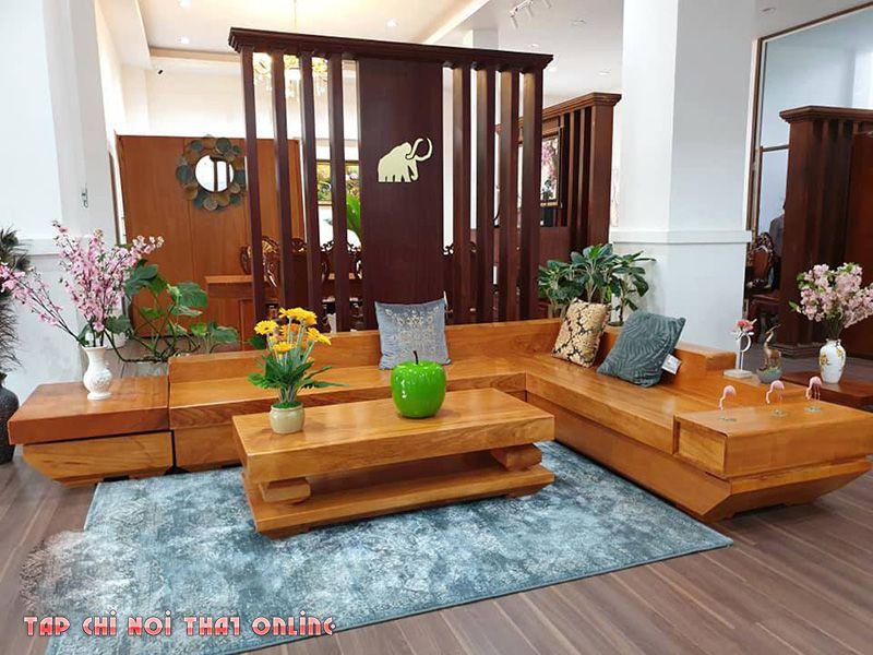 bộ ghế sofa góc bằng gỗ