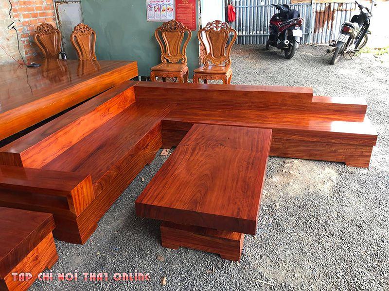 bộ bàn ghế sofa dùng gỗ nguyên tấm