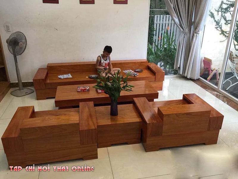 ghế sofa gỗ nguyên khối chữ H