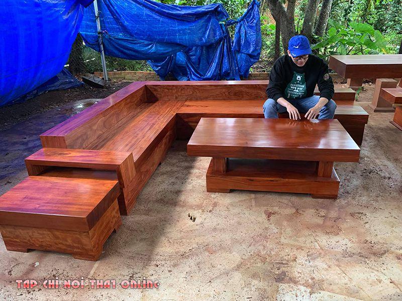 ghế sofa góc bằng gỗ nguyên khối