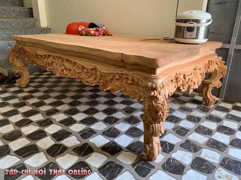 bộ bàn ghế sofa bằng gỗ nguyên khối đẹp mắt