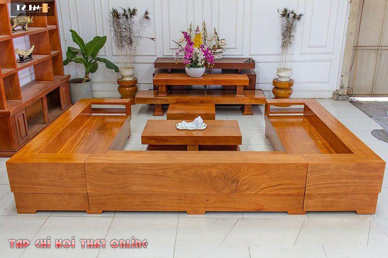 bộ bàn ghế sofa chữ U bằng gỗ nguyên tấm