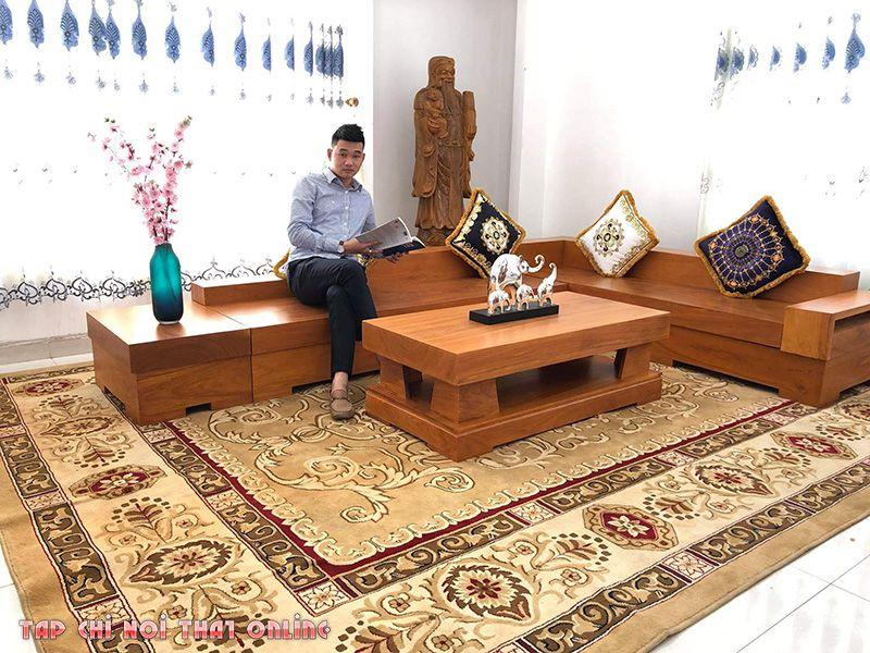 bàn ghế sofa gỗ nguyên khối dạng góc