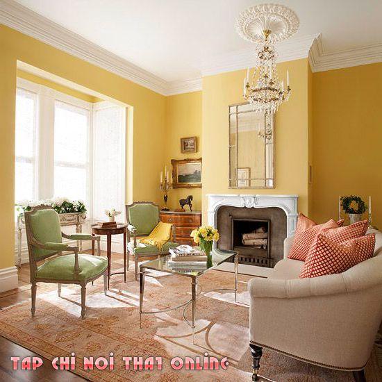 Phong thủy phòng khách mệnh Kim với gam màu chủ đạo vàng, trắng.