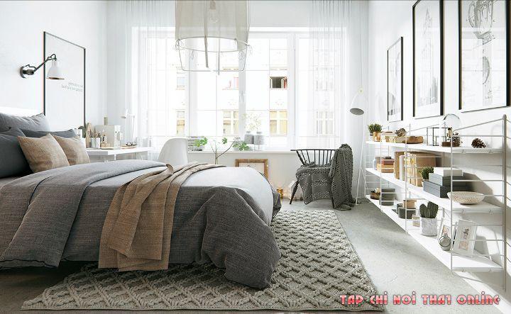 phòng ngủ phong cách scandinavian bắc âu