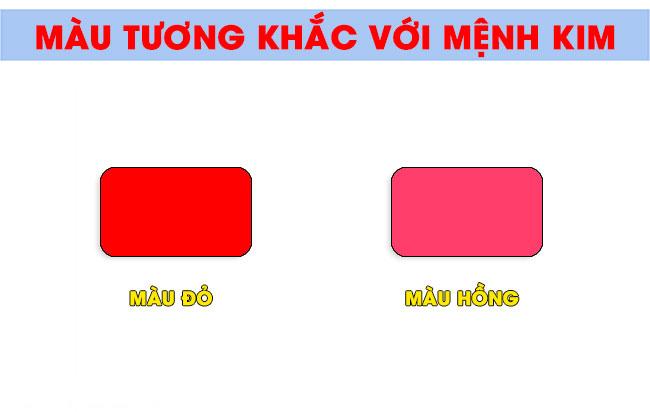 Chú ý khi chọn màu sắc khắc chế mệnh Kim là màu đỏ, hồng của mệnh Hỏa