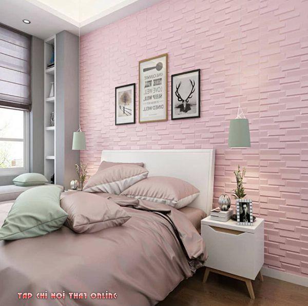 Cách phối màu xốp dán tường phòng ngủ với gam màu nhẹ nhàng trung tính.